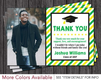 Graduation Thank You Card | Graduation Party Thank You Card | Green, Yellow, and Black