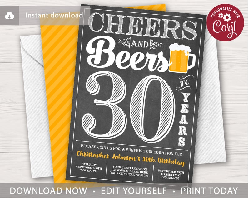 Cheers And Beers To 30 Years Birthday Invitation Editable