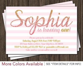 Pink and Gold Birthday Invitation - Light Pink and Gold First Birthday Invitations