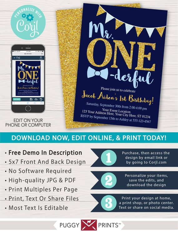 Mr ONEderful Birthday Invitation In Navy Gold And Baby