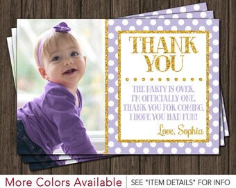 Purple and Gold Birthday Thank You Card - First Birthday Thank You Cards
