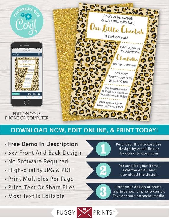 Cheetah 7th Birthday Invitation