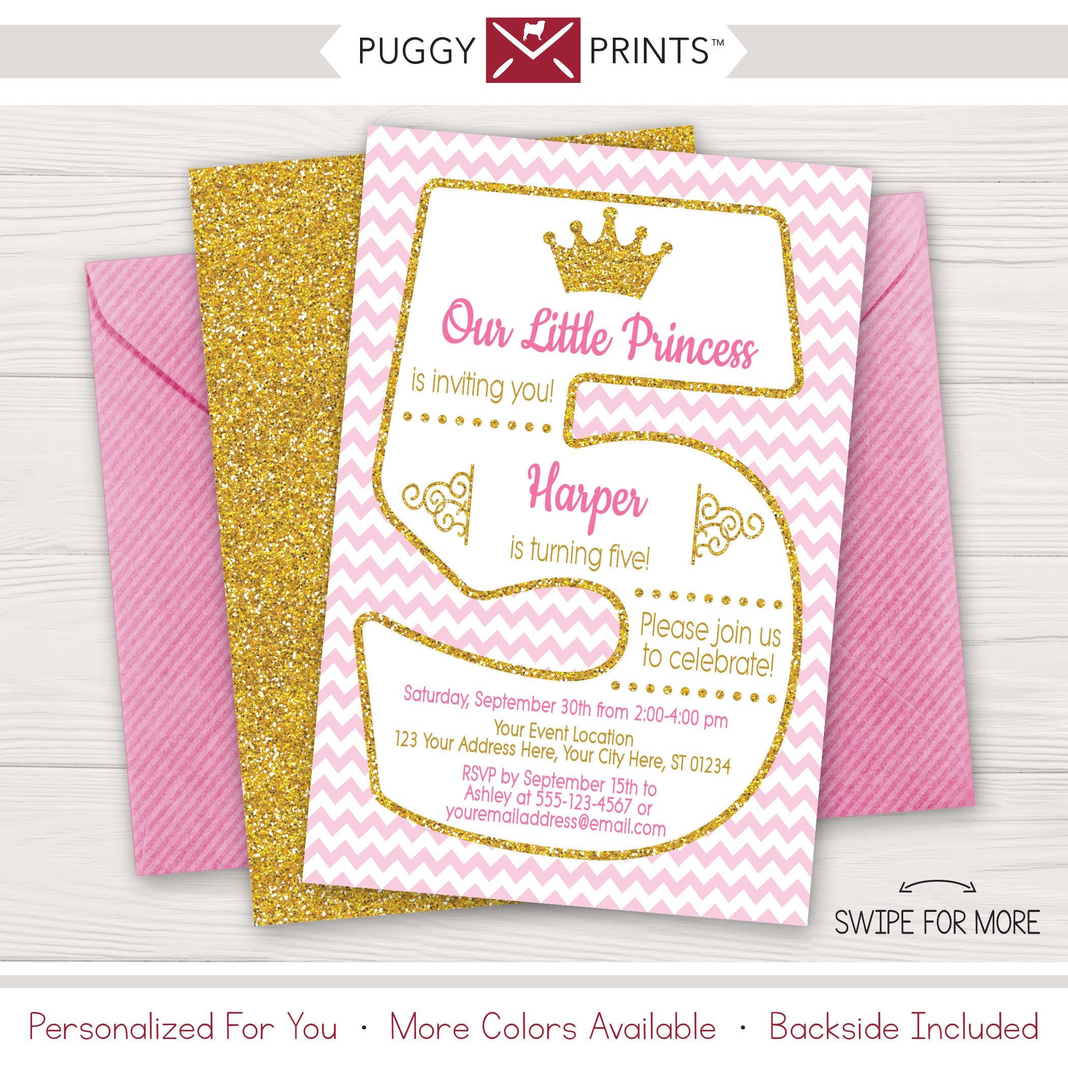 Princess 5th Birthday Invitation Fifth