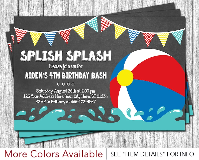 Beach Ball Birthday Invitation For A Pool Party Personalized