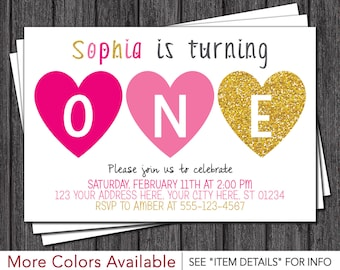 Valentine Birthday Invitation - Valentines Day Birthday Invitations - Pink and Gold Birthday Invitation