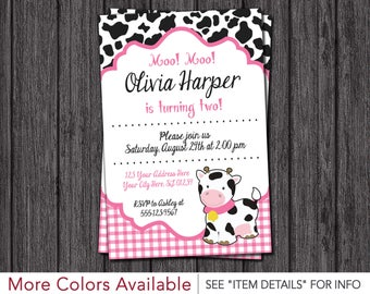 Cow Birthday Invitation | Barnyard Birthday Invitations | Pink and Black