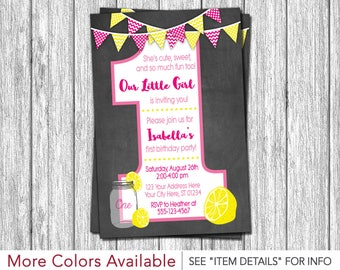 Lemonade First Birthday Invitation - Pink Lemonade 1st Birthday Invitations - Pink, Hot Pink, and Yellow