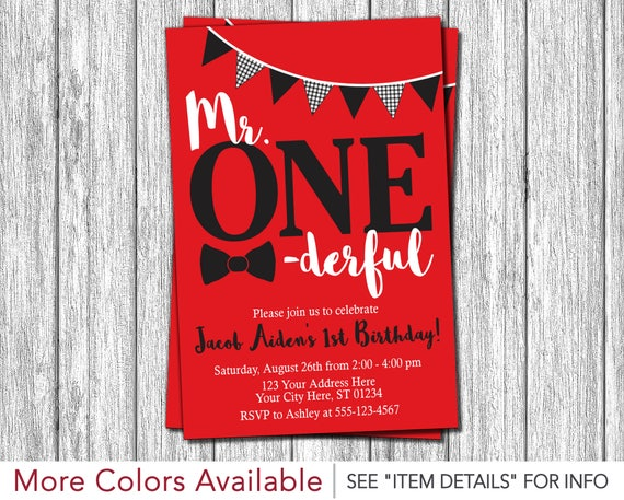 mr onederful birthday invitation in red black and white etsy