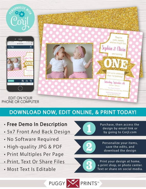 Pink And Gold Twins First Birthday Invitation With Photo