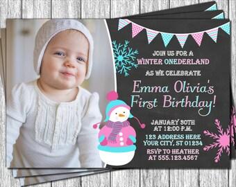 Snowman Winter Birthday Invitation - Winter ONEderland Invitations