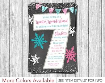 Winter Birthday Invitation | Winter Wonderland 7th Birthday Invitations | Pink, Aqua, and Silver
