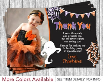 Halloween Birthday Thank You Card - Personalized Ghost Birthday Thank You Cards
