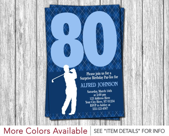 Golf 80th Birthday Invitation