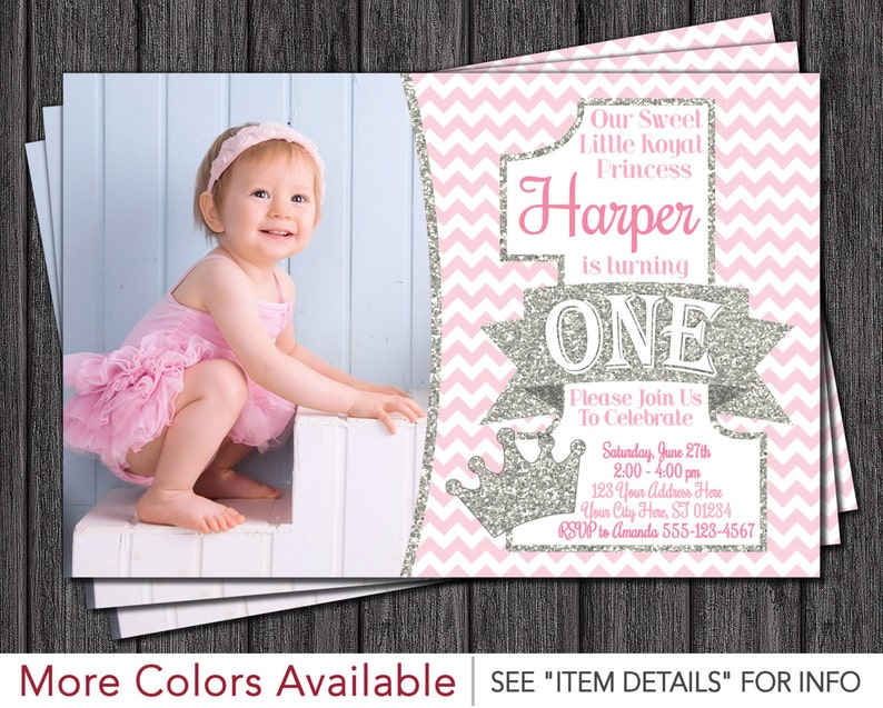 Princess First Birthday Invitation Pink And Silver 1st