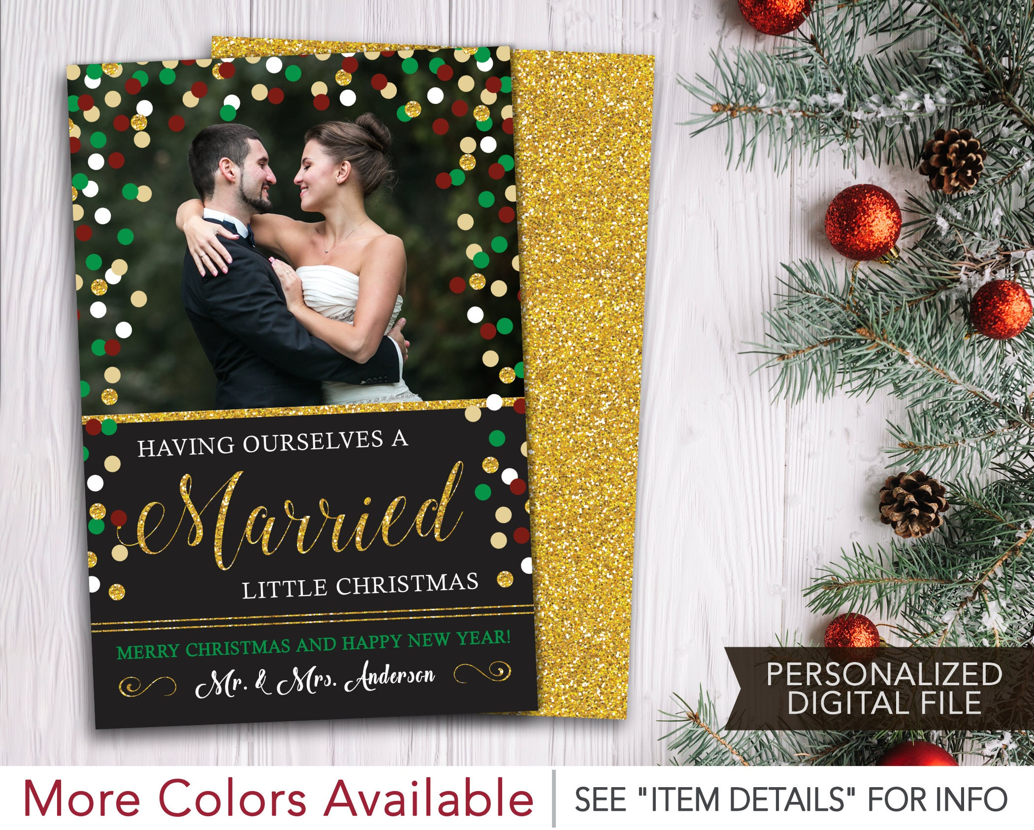 Newlywed Christmas Card with Photo Having Ourselves A | Etsy