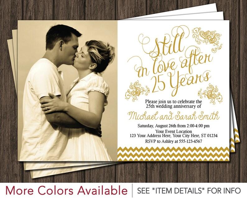 25th Anniversary Invitation 25th Wedding Anniversary Invites Etsy