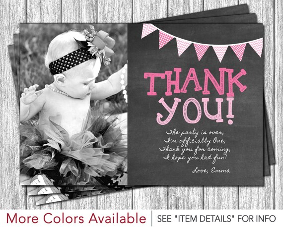 first birthday thank you card 1st birthday chalkboard thank etsy