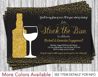 Stock the Bar Invitation - Engagement Party Invitations - Whiskey and Wine Party - Black and Gold
