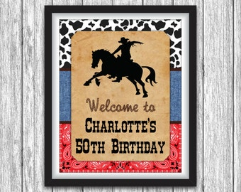 "Rodeo Birthday Party Sign - Printable Country Western, Wild West Themed Birthday Party Decorations - 8""x10"" Welcome Sign - DIY Digital File"