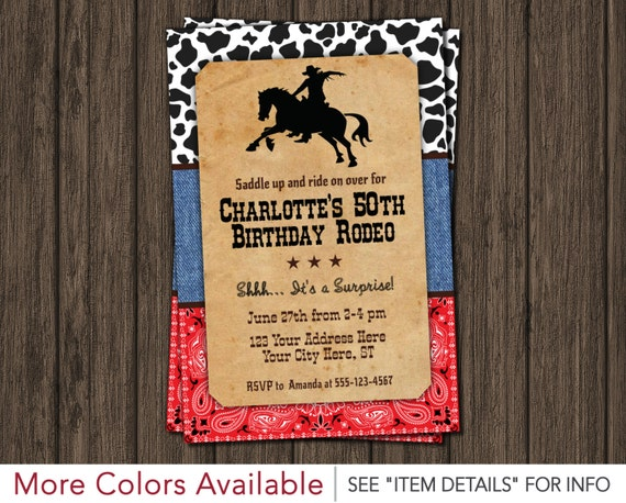 rodeo 50th birthday invitation country western wild west themed
