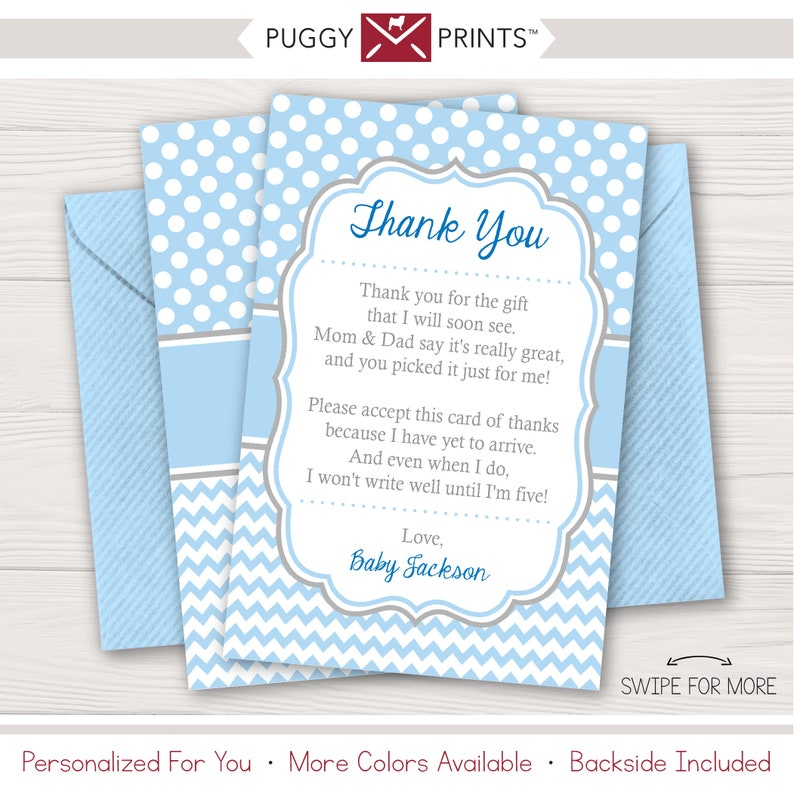 baby shower thank you cards boy baby sprinkle thank you  etsy