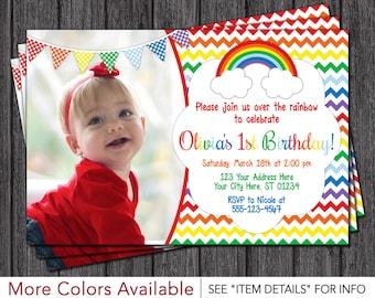 Rainbow Birthday Invitation | Rainbow First Birthday Party Invitations