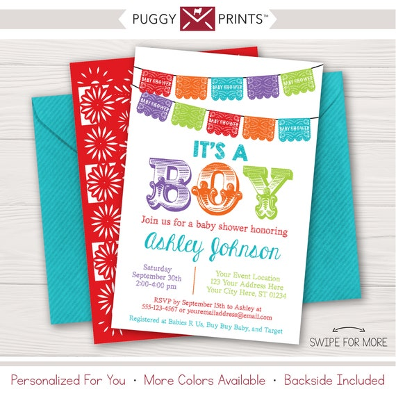 photo relating to Papel Picado Printable named Fiesta Boy or girl Shower Invitation Papel Picado Customized