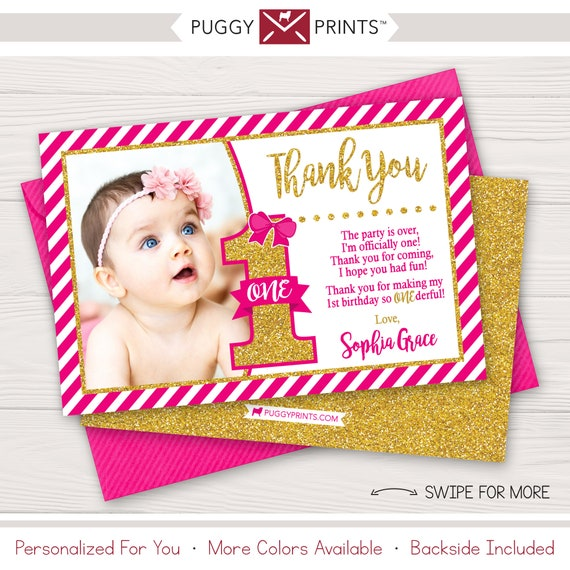 Miss One Derful Birthday Thank You Card Miss Onederful First Etsy