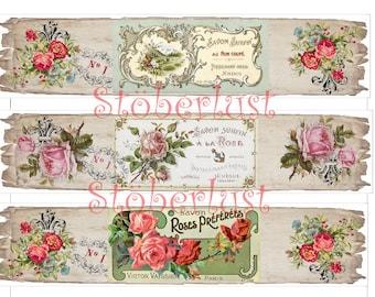 INSTANT DOWNLOAD auf  A 4 - 6 Banderolen, Bands Label Soap roses vintage ribbon