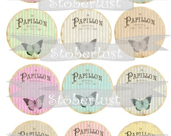 circle 12 x 2,5 shabby backgrounds, stripes, papillon, butterflies pastel colors, DIY scrapbooking, instant download