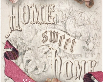 INSTANT Download Home sweet Home 2 vintage frame and roses in lilac
