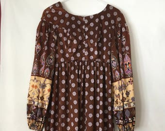 XS 1970s vintage handmade boho maxi dress empire waist