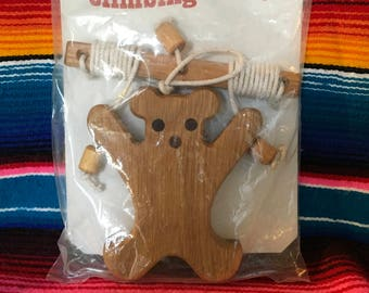Wooden climbing bear vintage new in package