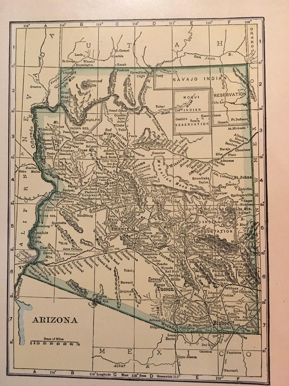 Map Of Just Arizona.Arizona Map 1935 Vintage Antique