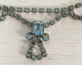 Vintage lavalier necklace ice blue hand set rhinestones