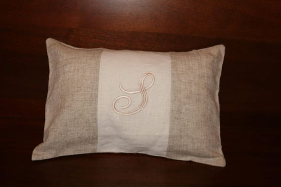 Superb Monogram Linen Lumbar Pillow Ocoug Best Dining Table And Chair Ideas Images Ocougorg
