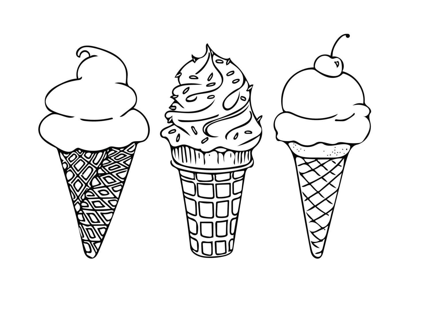 PRINTABLE COLORING SHEET Instant Download Ice Cream Cones Coloring Sheet Kids Activities Adult Coloring Page 85x11