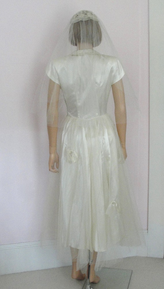 Vintage 1950s Porteous IVORY SATIN WEDDING Gown D… - image 8
