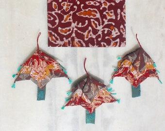 Handmade Fabric Christmas Tree Ornaments