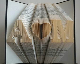 Folded Book Art, Anniversary Gift, First Anniversary, Gift for Him, Gift for Her, Wedding Decor, Personalized Gift, Wedding Gift