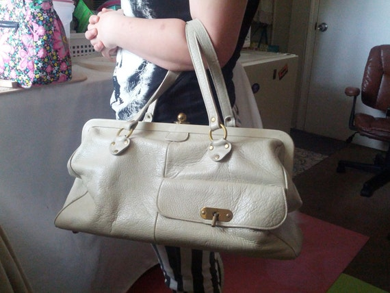 HUGE 1960s Vintage Beige Leather Roger Van S Overn