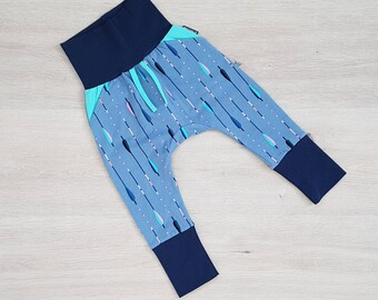 18mth-3T Feather Pants  Feather Print Grow With Me Pants with Blue Cuffs  Toddler Feather Print Maxaloones  Feather Print Kids Leggings
