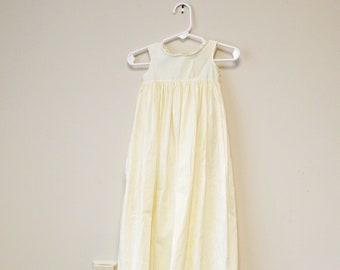Antique Child/'s Dress White Cotton Sleeveless with Long Skirt and Lace Trim early 1900s late 1800s