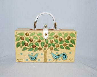 77f5c26b0cfe Vintage Enid Collins Box Purse - Money Tree, 1966, Blond Wood with White  Leather Trim