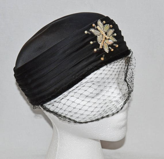 Vintage Pillbox Hat Black Satin with Faux Pearl and Sequin  0ffaeef0a59