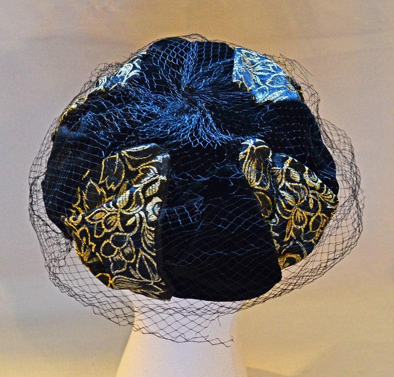 8625777aadc Vintage Mod Pillbox Hat Black Velvet with Gold Flower