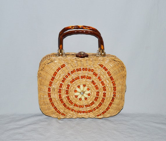 Vintage Wicker and Lucite Handbag - Natural Wicker