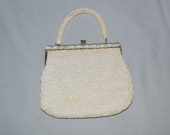 Vintage Beaded Handbag - White and Pastel Beads, Lucite Decoration, 1960s