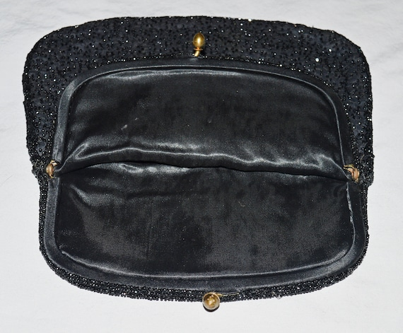 Vintage Black Beaded Fold Over Evening Clutch with kiss clasp