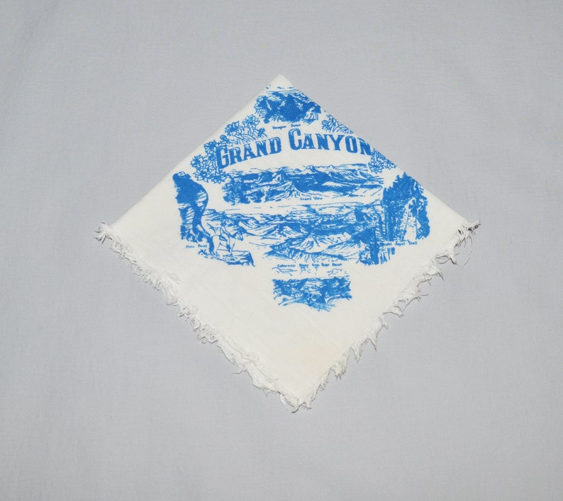 Grand Canyon Souvenir White Cotton with Blue Graphics Vintage Souvenir Handkerchief Grand Canyon